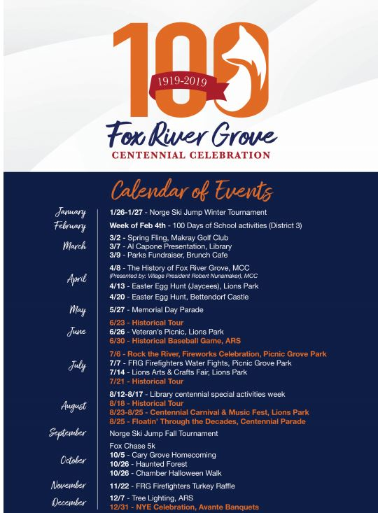 FRG Centennial Calendar - click to visit the Offical Village Centennial Site